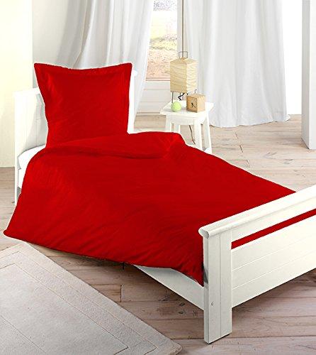 Parure Housse de couette 140x200 3 Pieces 100 % coton 57 Fils (Rouge)