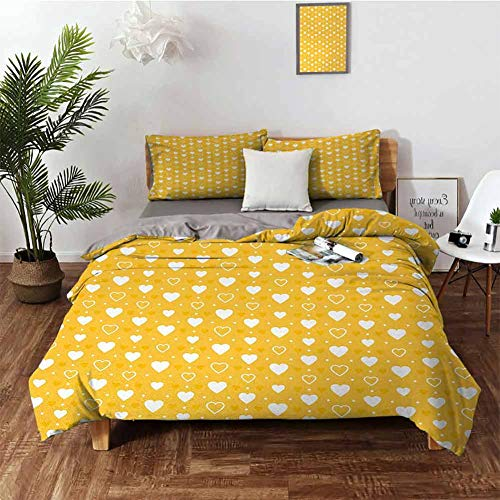 DRAGON VINES Hotel Luxury Bed Sheets Yellow Hotel Bed Sheets Queen Set Full and Empty Heart Shapes with Little Dots and Tiny Cute Sweet Hearts Pattern W103 xL90 Yellow White