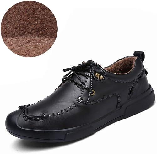 LUCKYEUD Chaussures d'affaires pour Hommes Chaussure à Lacets Tout Confort Doublée De Cuir pour Le Travail Professionnel,noir-cotton-EU43