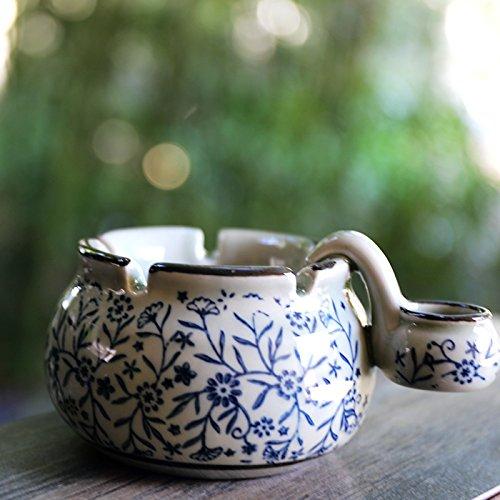 Sursy Pintado a mano de porcelana azul y blanco con lavabo Cenicero regalos creativos personalizados B