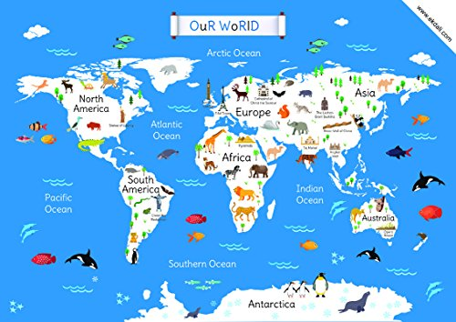 World Map for children |Classroom Home Wall room Décor 11.7 X 16.5 inches, ideal gift for children/ kids, from Ekdali.com. This poster features the world map with the most important monuments and animals particular to that region