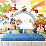 Mural 3D De Dibujos Animados Arcoíris Casa De Setas Animal Niños Habitación Niños Niñas Dormitorio Fondo Pared Decoración Foto Papel Tapiz 200(Ancho) X140(Alto) Cm