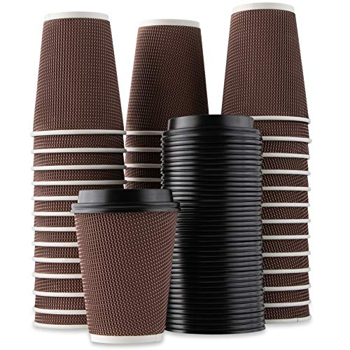 Party Bargains Rippled Hot Cups with Lids | Insulated Double Walled, No Sleeve Needed Disposable Paper Cup for Coffee or Tea | Perfect for To-Go Travel Mug, Parties and More | Size 12 Ounce | 40 Count