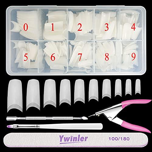 Nagelspitzen, Beainfir 500 Stück Natürliche Farbe Artificial Fake Art Nagelspitzen 10 Größen DIY Acryl gefälschter Nagel mit Box, Nagelbürste, Nagelhautschieben und Nagelfeile