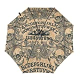 Enjeolon Folds Auto Open Close Anti-UV Umbrella Angel of Death Ouija Board Good Bye Rain & Outdoor Unbreakable Travel Umbrellas