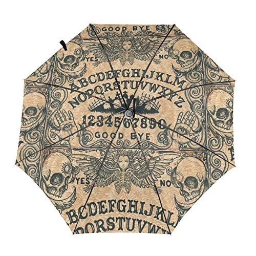 Enjeolon Folds Auto Open Close Anti-UV Umbrella Angel of Death Ouija Board Good Bye Rain & Outdoor Unbreakable Travel Umbrellas