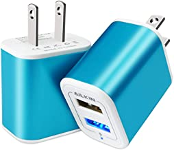 پلاگین USB در شارژر دیواری ، بلوک شارژ ، 2Pack Ailkin 2.1A شارژ سریع سریع آداپتور برق دوگانه پورت قدرت مکعب جعبه آجر سازگار با آی فون ، آی پد ، ال جی ، افتخار ، سامسونگ ، کیندل فایر ، آبی ، همه USB - آبی