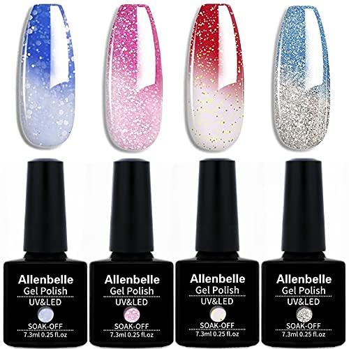 Allenbelle Smalto Semipermanente Camaleonte Nail Polish UV LED Gel Unghie (Kit di 4 pcs 7.3ML pc) (001)