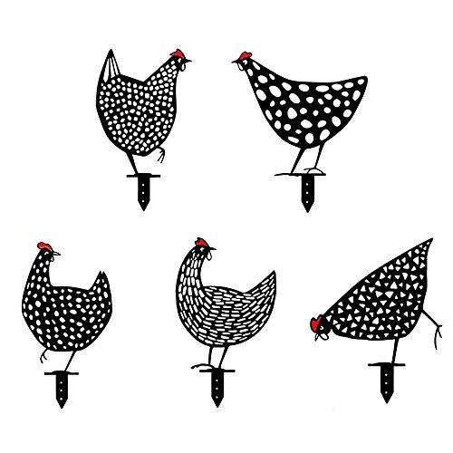 Zueyen 5 piezas de gallinas realistas para decoración de jardín, buena suerte, pollo, silueta de gallina, señal de tierra para césped, camino, aceras, jardín