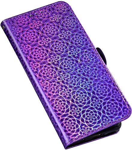 QPOLLY Schutzhülle für Huawei P20 Hülle Diamant Leder Strass Bling Tasche Leder Flip Case 3D Glitzer Shiny Bunt Handyhülle Glitzer Brieftasche Handytasche für Huawei P20,Lila