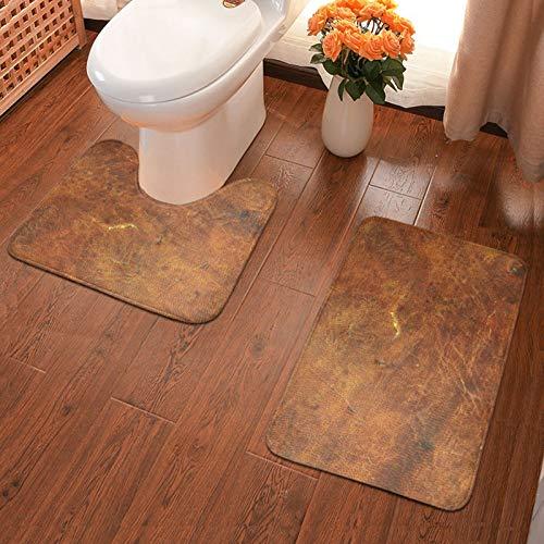 John J Littlejohn Non Slip Old Tan Leather Texture Cowhide Bathroom Antiskid Pad Bathmat Waterproof Bath Carpet Bath Mat + Contour