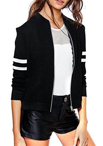 Xiang Ru Sport Stil-Damen Mädchen Sweatjacket College Outwear Jacke,Langärmelig M Schwarz
