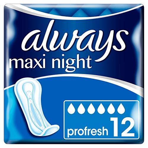Always Maxi Night ProFresh Serviettes sans Ailettes 12 Pochettes Individuelles