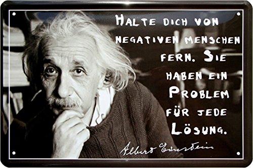 Halte Dich von negativen Menschen fern Albert Einstein 20x30 Blechschild 433