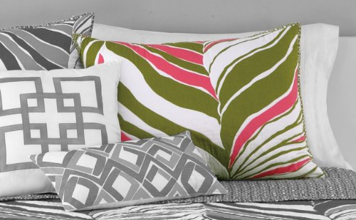 Trina Turk Tiger Leaf Standard Sham, 20 by 26-Inch, Pink/Green