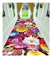 CnCnCn ホワイエエントランスカーペット廊下アイルリビングルームカスタマイズ (Color : RedB, Size : 80X360cm)