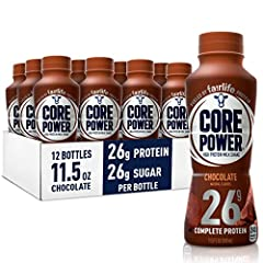 Product contains pack of 12 (twelve) 11.5 ounce single serve bottles Core Power ready to drink chocolate protein shakes contain 26g of high quality protein from ultra filtered milk All 9 essential amino acids, calcium, and vitamin D3 Recover better a...