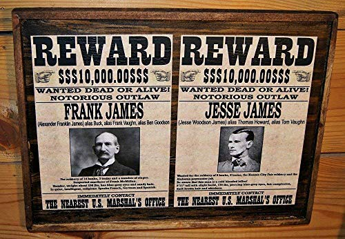Vintage Frank and Jesse James Wanted Poster - Wooden Sign