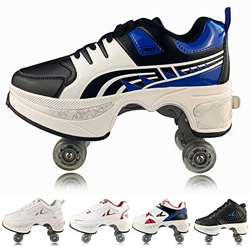 CHSSIH Roller Skates for Women 4 Wheel Adjustable Quad Roller Skates Boots, Boys 2-in-1 Multi-Purpose Shoes, Skates Adult Women Universal Walking Shoes,Blue Black(蓝黑)-35