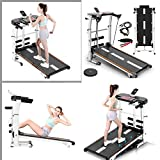Unbran Folding Shock Running Treadmill, Supine, T-wisting, Draw Rope 4-in-1 Mechanical Treadmill,Non-Electric Treadmill, no Power, Mechanical Walking Machine