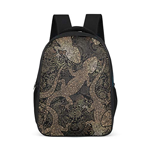 Unisex-Kinder Schulrucksack Eidechse Gecko Schulranzen Schultasche Daypack Rucksack Backpack für Jungen Mädchen Schwarz 32x18x42 cm