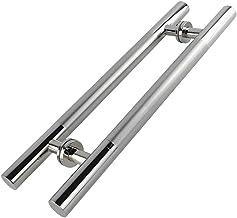 Deurhandvat, RVS Push-pull deurklink voor glazen deuren/houten deuren/metalen deuren/schuur deuren - zwart/zilver, 6 maten...