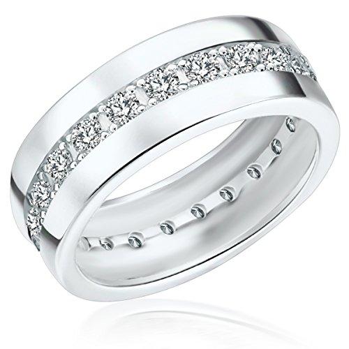Rafaela Donata Damen-Ring 925 Sterling Silber Zirkonia weiß - Moderner Silberring in Memoire-Form mit Steinen 60800108