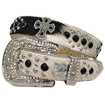 1313 Exotic White Brindle Cowhide Belts Cowgirl Bling Belts Rodeo Belts Plus Size Western Belts For Cowgirls (WT-BK-EXOTIC-BRINDLE, Large)
