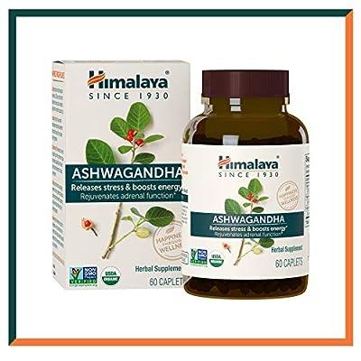 Himalaya Ashwagandha 670mg Organic Ashwagandha Root Powder Extract, Ashwagandha Anti Anxiety Supplement for Stress-Relief, Adrenal Support and Energy Boost, 60 Caplets, 2 Month Supply