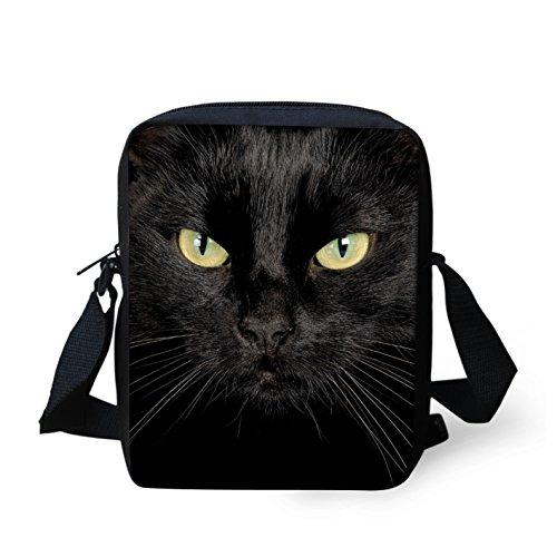 HUGS IDEA Schwarze Katze Mini Messneger Bag Schultertasche Handtasche Äußere Reise Crossbody Taschen Geldbörse
