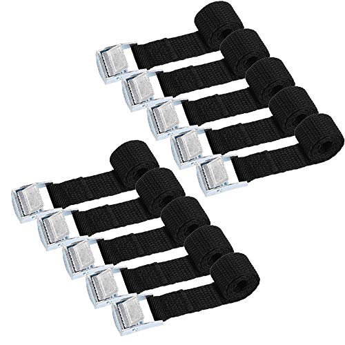 MIZOMOR 10Pcs Ratchet Tie Down Straps Fastening Straps with Quick Release Cam Bukle Straps 2.5m Tension Belt Adjustable Cargo Straps Nylon Webbing Lashing Straps for Car Trailer Bicycle Luggage