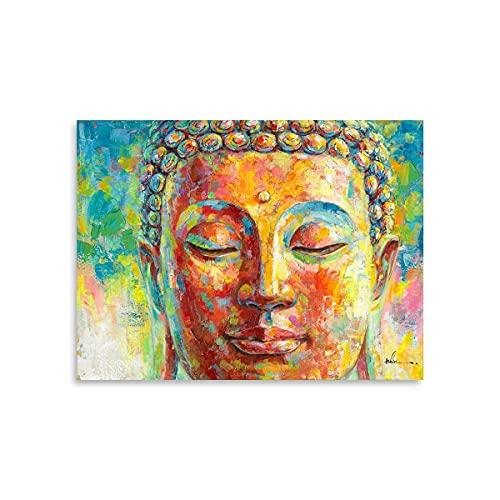 Buddha Wall Art Happiness Art - Yoga Poster Blessing Gold Buddha Canvas Gautama Portrait Painting Zen Decor Buddhism Prints Colorful Buddha Paintings for Bathroom Bedroom Decoration 16'x12'