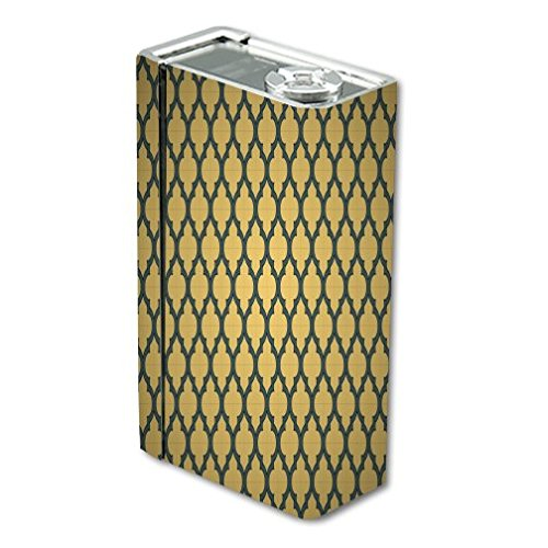 Decal Sticker Skin WRAP Gold & Grey Quatrefoil Pattern Art for Smok X Cube BT50
