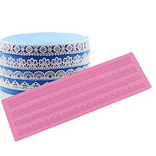 DUBENS 4 Muster Mustermatte zum Verzieren, Motiv Spitzenbordüre, Spitze Mold Silikon Zucker Spitze Pad Kuchen Krempe Dekoration Mold Küchen DIY Werkzeug