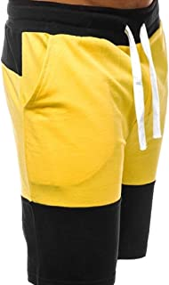 Men Color Block Shorts Drawstring Summer Workout Shorts with Elastic Waist