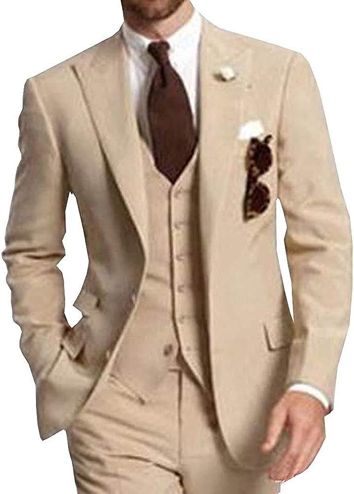 Men's Suits Slim Fit 3 Piece Tuxedos Casual Separates-Custom Shawl Lapel Prom Groomsmen