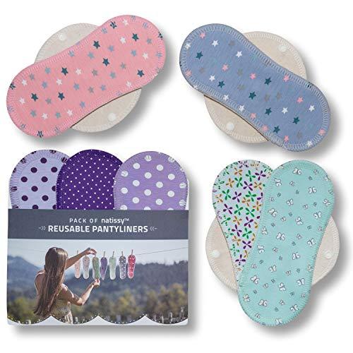 Natissy Salvaslips de tela reutilizables, 7-Pack Protege Slips de algodón con alas HECHAS...