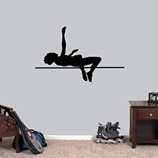 Wall Stickers, Wall Decals, Wall Tattoos, Wall Posters, Wallpaper,High Jumper Wall Decal Track and Field Sports Running Kids Room Garage Locker Room Removeable Wall Decor Vinyl 66x42CM