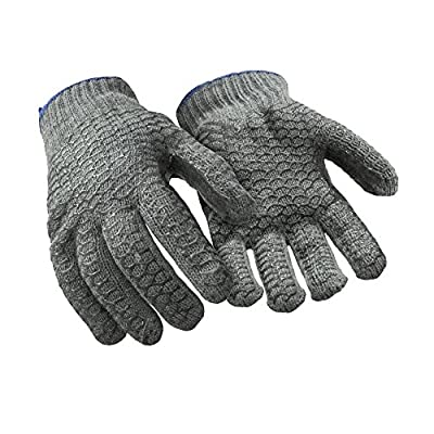RefrigiWear Poly Cotton Knit Double Sided PVC Honeycomb Grip Work Gloves (Grey, Large) - PACK OF 12 PAIRS