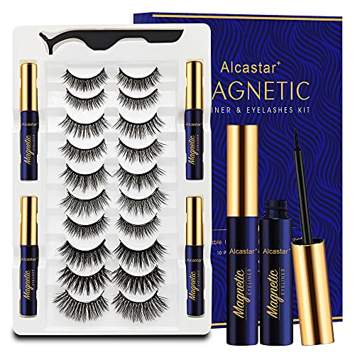 Magnetic Eyelashes with Eyeliner Kit 10 Pairs, 3D Reusable Magnetic Lashes Natural Looking with 4 tubes of Waterproof Eyeliner ,Upgraded,Long-Lasting,Lightweight,Easy to Apply.