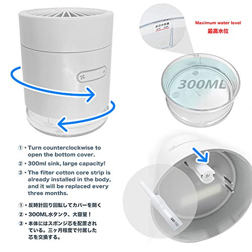 2020年最新版卓上扇風機ミストファン加湿機能付きusbファン充電式2000mah小型静音オフィス強風強力呼吸ランプ付き長時間連続使用かわいい折り畳み式IGOKOTI