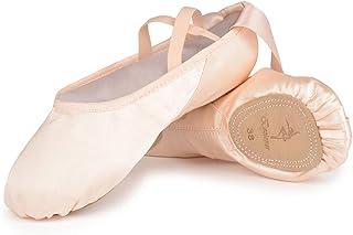 Chaussures de Danse Satin Demi Pointe Pantoufle de Ballet avec Ruban Rose Ballerine pour Enfants et Adulte