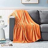 GDDREAM Mantas para Sofa de Franela,Manta para Cama 90 Reversible de 100% Microfibre Extra Suave,Manta Transpirable (Naranja, 130x150 cm)
