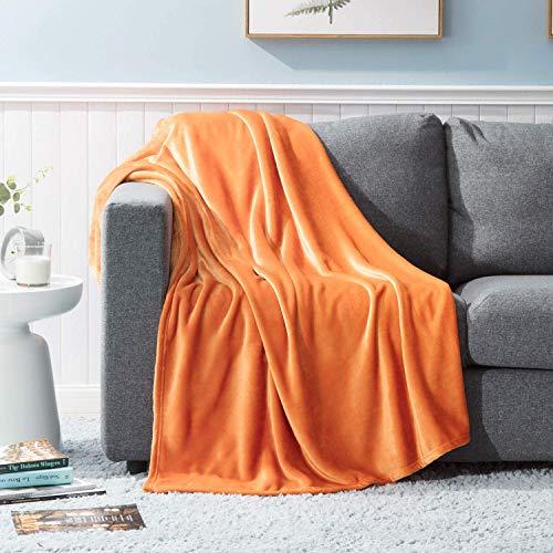 GDDREAM Mantas para Sofa de Franela,Manta para Cama 90 Reversible de 100% Microfibre Extra Suave,Manta Transpirable (Naranja, 150x200 cm)