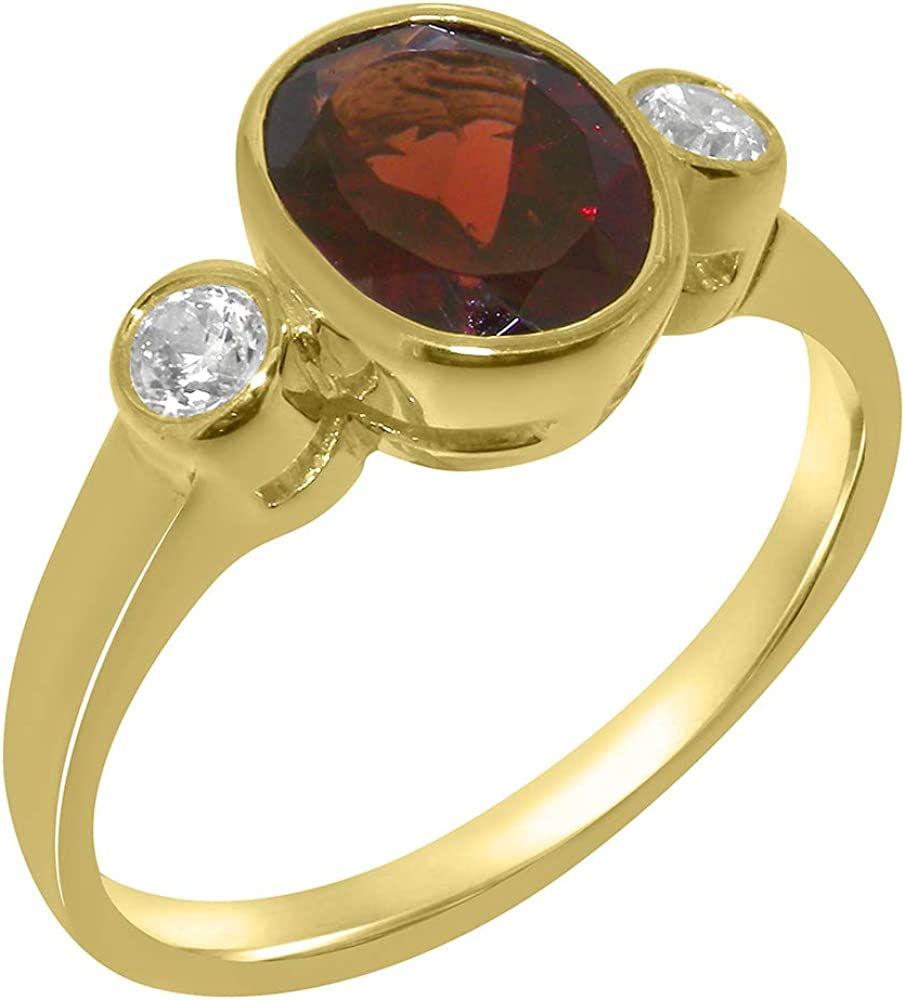 Solid 18k Yellow Gold Natural Garnet & Cubic Zirconia Womens Trilogy Ring - Sizes 4 to 12 Available