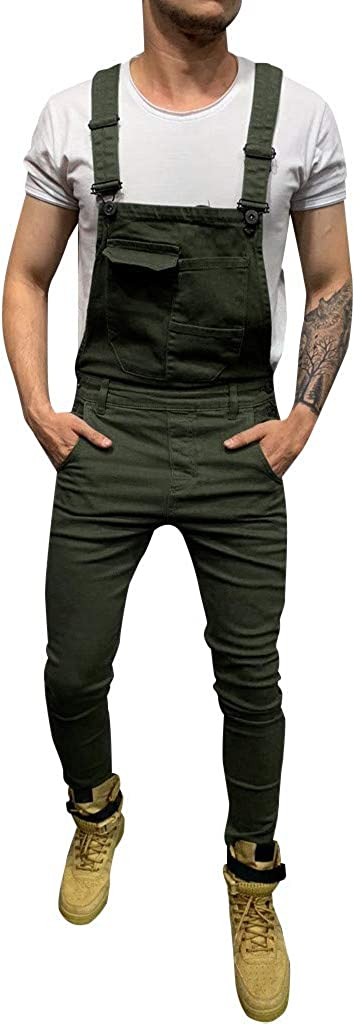 Yoyorule Mens Pocket Jeans Overall Jumpsuit Destroyed Ripped Skinny Denim Jeans Streetwear Overall Suspender Pants