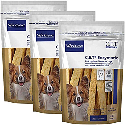 C.E.T. Enzymatic Oral Chews for Dogs Under 11 lbs, 30 Ct (3 Pack), Natural (90601-3)