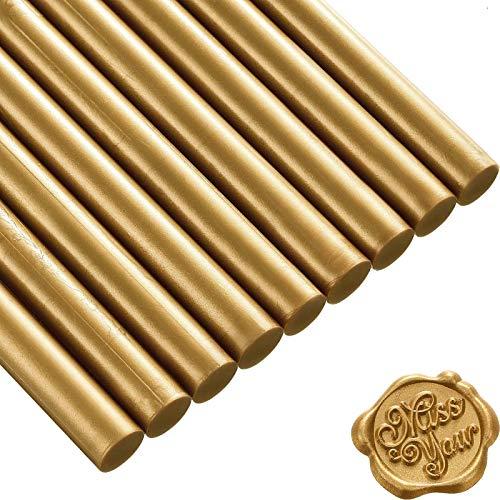 Homejia - 10 varillas de cera para pistola de pegamento de 11 x 135 mm, para reparación de manos, sello de cera retro vintage y carta (vintage dorado)