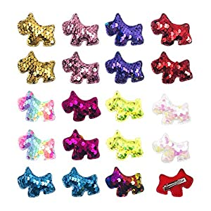 JpGdn 10Pairs/20pcs Small Dogs Hair Bows with Rubber Bands Glittering Pony Shaped Bow Ties for Small Medium Puppy Doggy Cat Rabbit Pet Topknot in Assorted Colors Hair Grooming Accessories Attachment