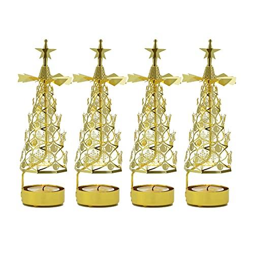 AJMINI 4 PZ. Portacandele di filatura, portacandele Rotante in Metallo, candelabri in Metallo Natalizio, portacandele di filatura della Luce del tè, per l' Evento di Nozze Natale (Size : 4pcs)